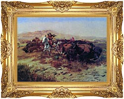 Charles Russell The Buffalo Hunt Wild Meat For Wild Men canvas with Majestic Gold frame