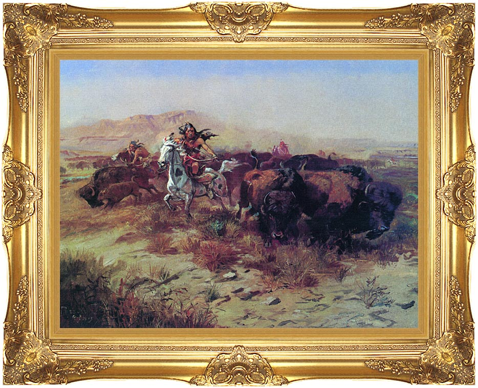 Charles Russell The Buffalo Hunt (Wild Meat for Wild Men) with Majestic Gold Frame