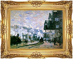 Claude Monet The Western Region Goods Sheds canvas with Majestic Gold frame