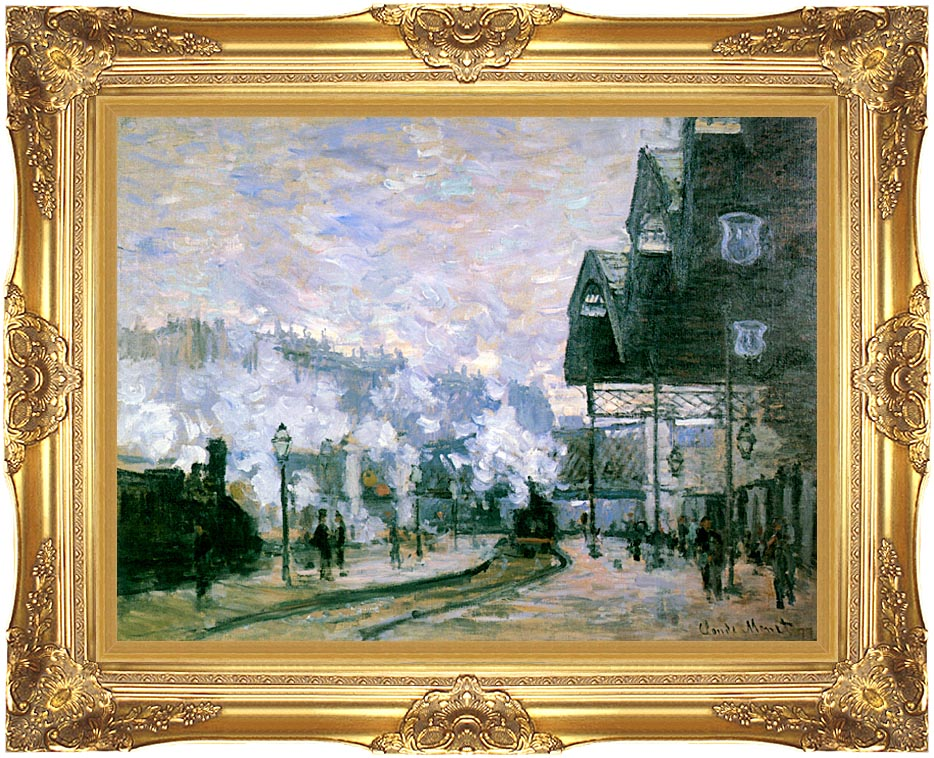 Claude Monet The Western Region Goods Sheds with Majestic Gold Frame
