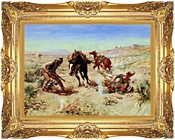 Charles Russell The Cinch Ring canvas with Majestic Gold frame
