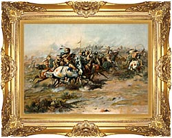 Charles Russell The Custer Fight canvas with Majestic Gold frame