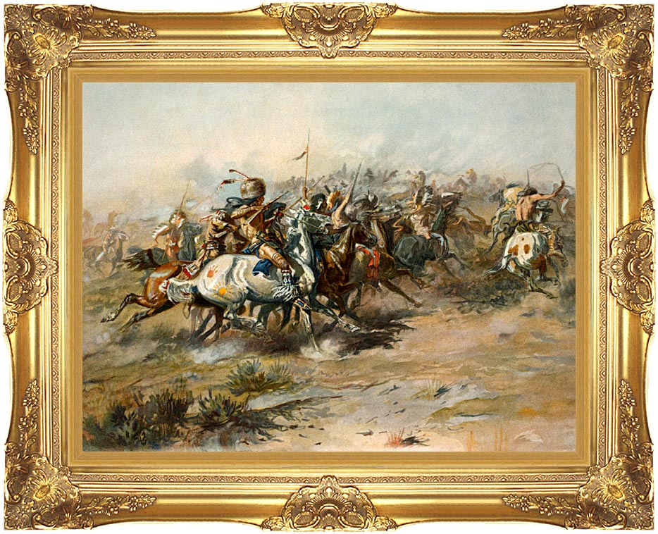 Charles Russell The Custer Fight with Majestic Gold Frame
