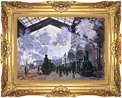Claude Monet View Of The Normandy Train Line canvas with Majestic Gold frame