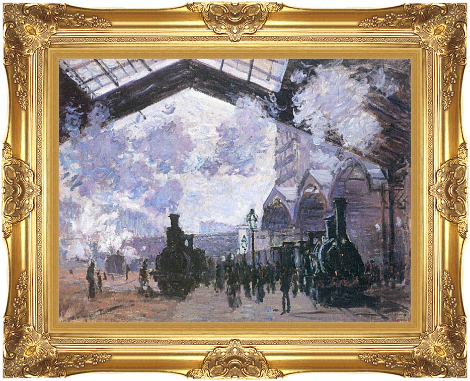 Claude Monet View of the Normandy Train Line with Majestic Gold Frame