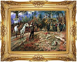 Charles Russell The Hold Up canvas with Majestic Gold frame