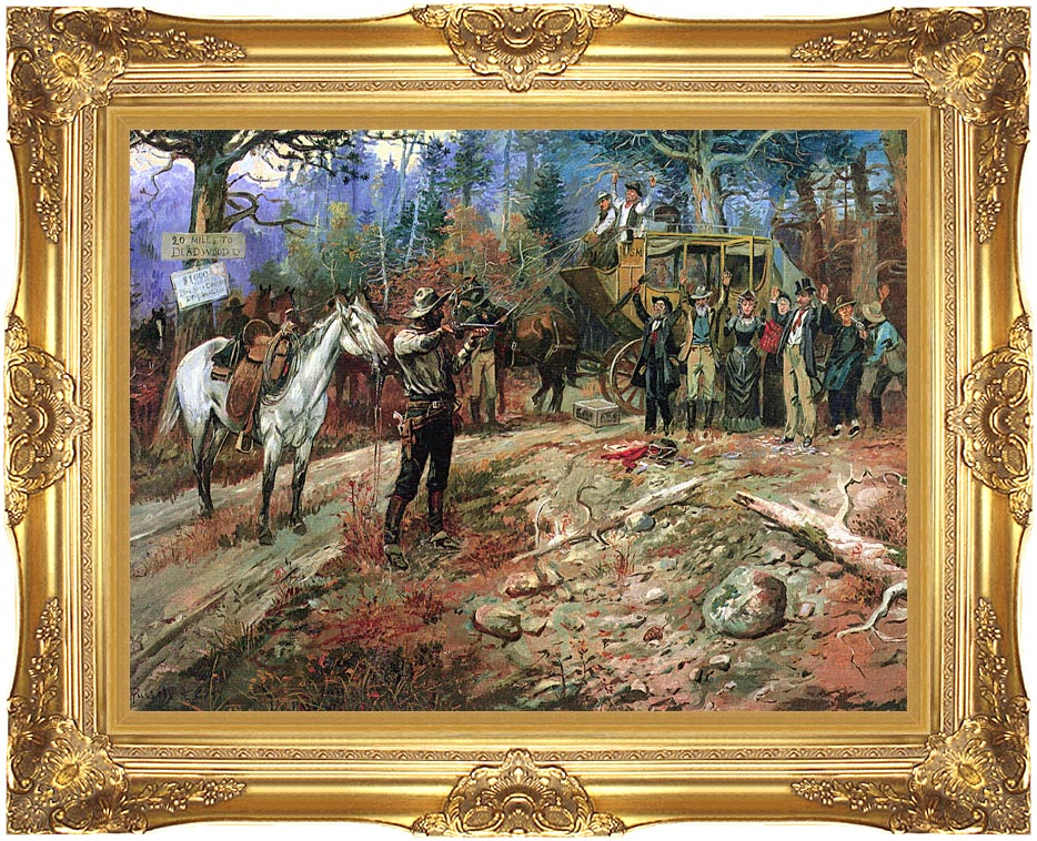 Charles Russell The Hold Up with Majestic Gold Frame
