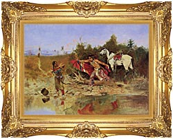 Charles Russell The Marriage Ceremony canvas with Majestic Gold frame