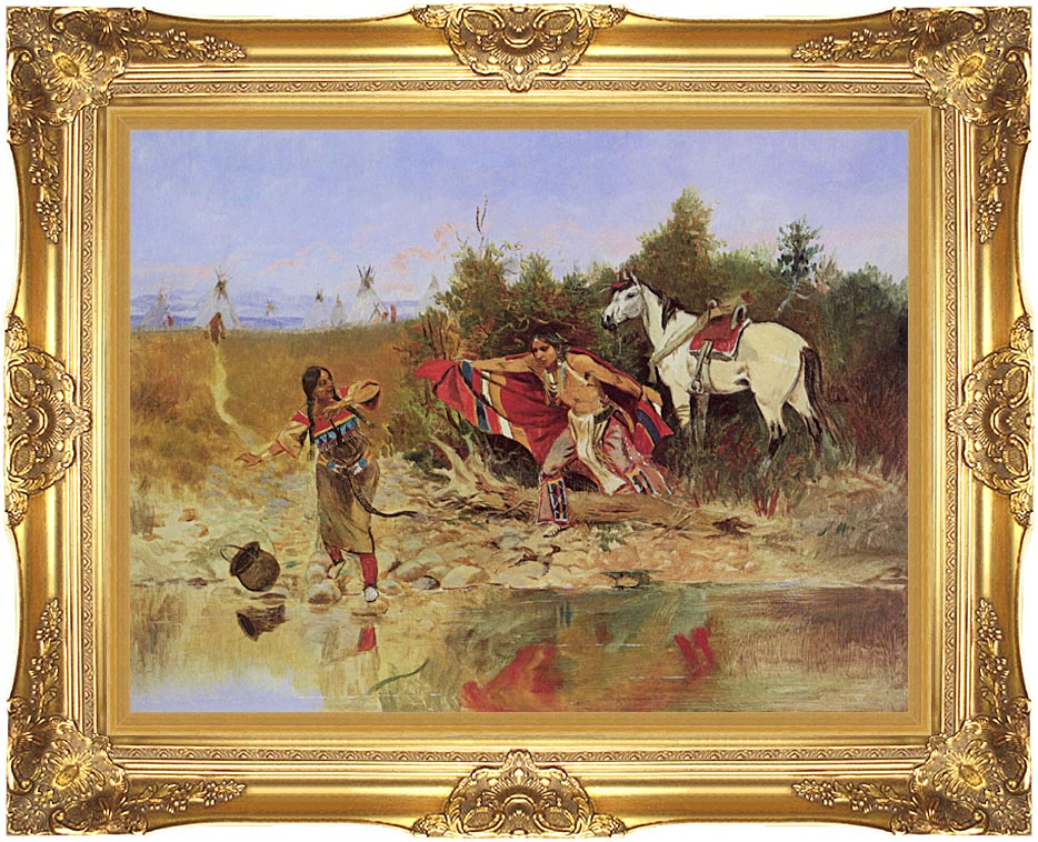 Charles Russell The Marriage Ceremony with Majestic Gold Frame
