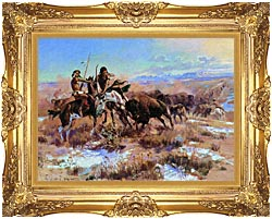 Charles Russell The Wounded Buffalo canvas with Majestic Gold frame