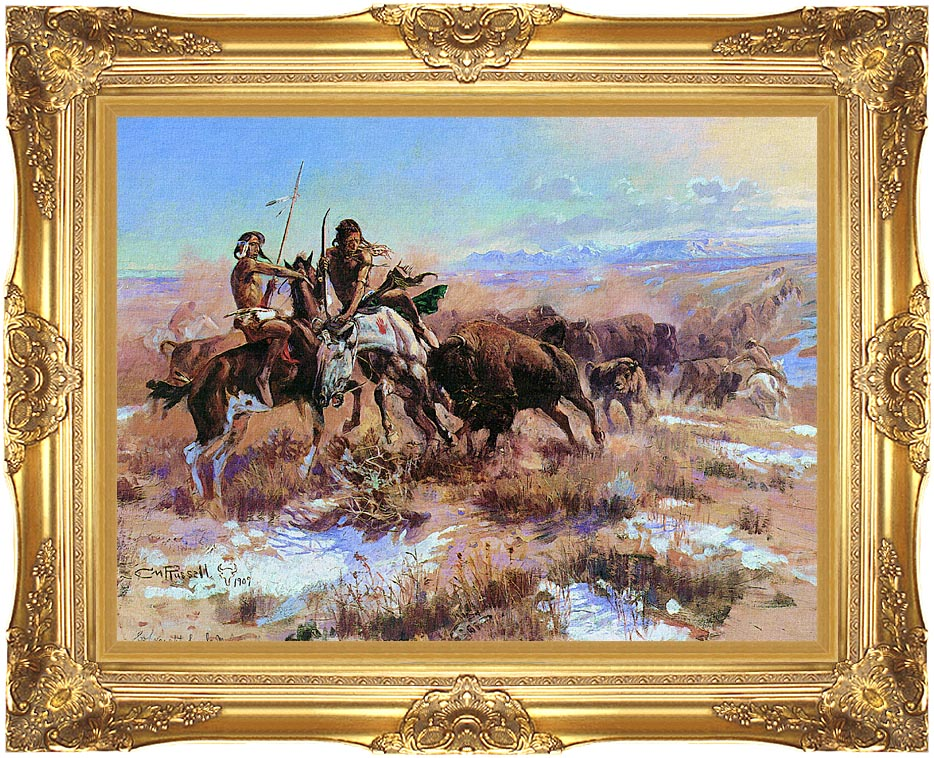 Charles Russell The Wounded Buffalo with Majestic Gold Frame
