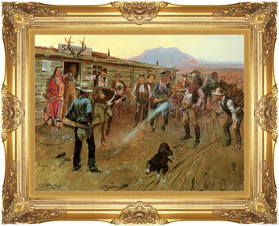 Charles Russell The Tenderfoot with Majestic Gold Frame