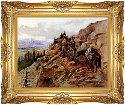 Charles Russell Trouble On The Horizon canvas with Majestic Gold frame