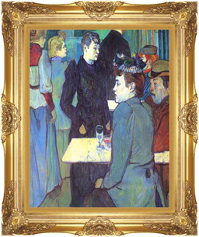 Henri de Toulouse Lautrec A Corner of the Moulin de la Galette with Majestic Gold Frame