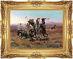 Charles Russell When Blackfeet And Sioux Meet canvas with Majestic Gold frame