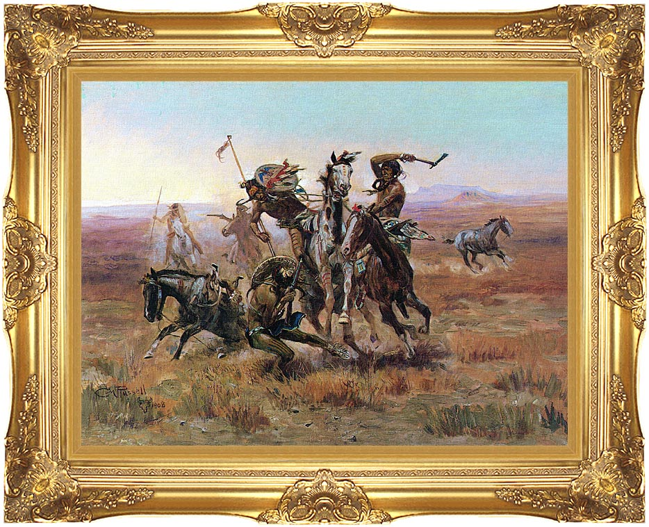 Charles Russell When Blackfeet and Sioux Meet with Majestic Gold Frame