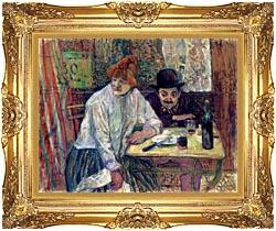 Henri De Toulouse Lautrec A La Mie canvas with Majestic Gold frame