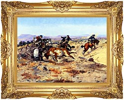 Charles Russell When Cowboys Get In Trouble canvas with Majestic Gold frame