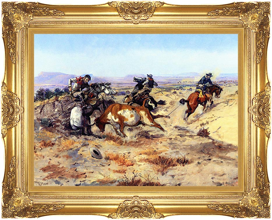 Charles Russell When Cowboys Get in Trouble with Majestic Gold Frame