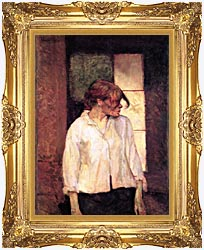 Henri De Toulouse Lautrec A Montrouge   Rosa La Rouge canvas with Majestic Gold frame