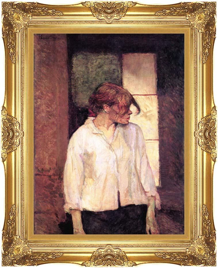 Henri de Toulouse Lautrec A Montrouge - Rosa La Rouge with Majestic Gold Frame