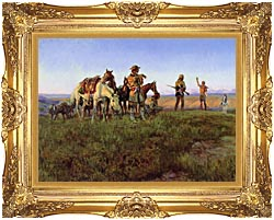 Charles Russell Wildmans Truce canvas with Majestic Gold frame