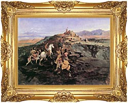 Charles Russell Buffalo Hunt canvas with Majestic Gold frame