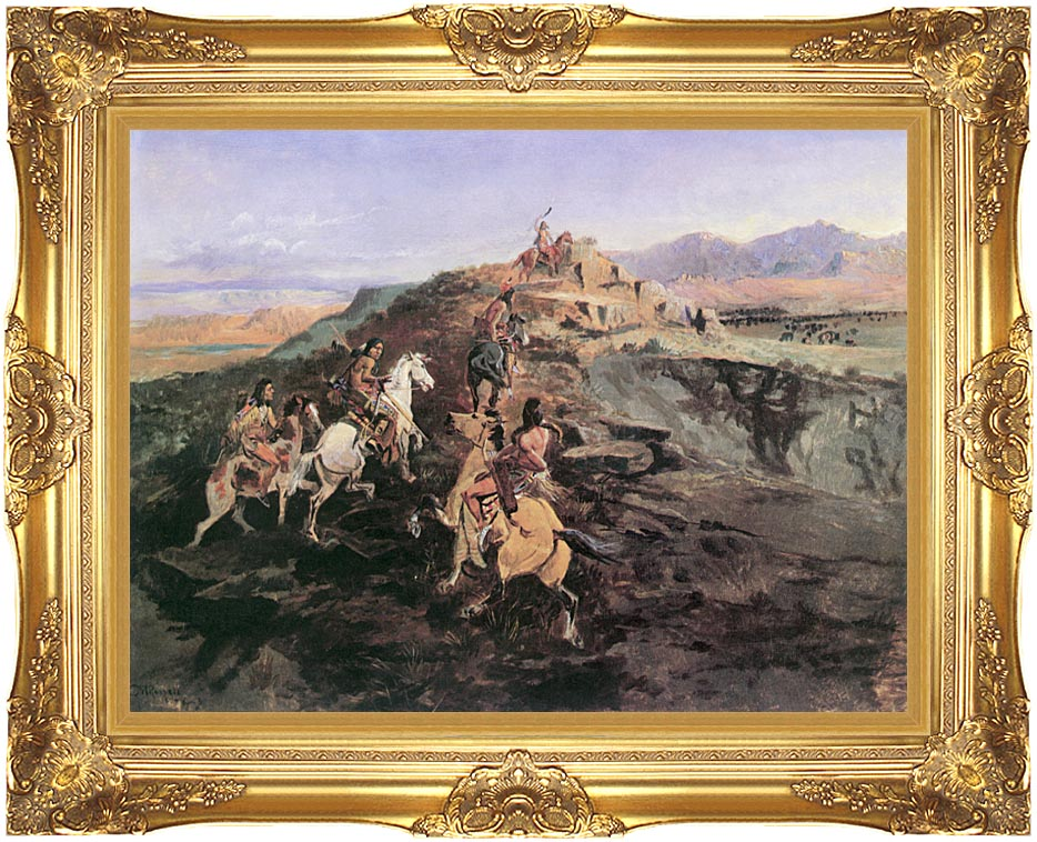 Charles Russell Buffalo Hunt with Majestic Gold Frame