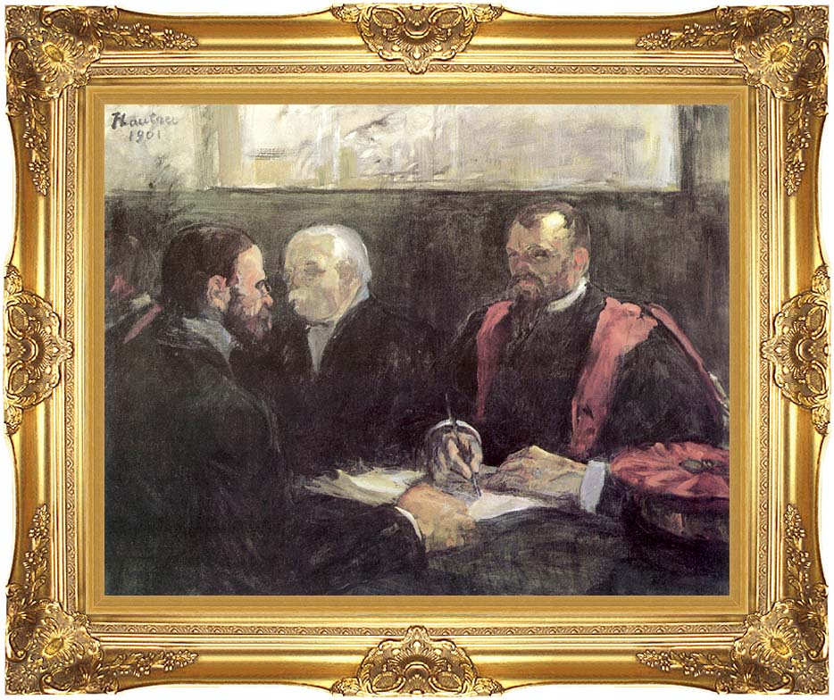 Henri de Toulouse Lautrec An Examination at the Faculty of Medicine, Paris with Majestic Gold Frame