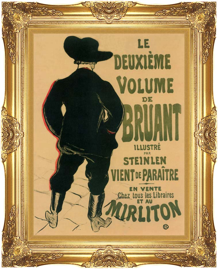 Henri de Toulouse Lautrec Aristide Bruant at the Mirliton with Majestic Gold Frame