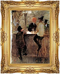 Henri De Toulouse Lautrec At The Bar canvas with Majestic Gold frame