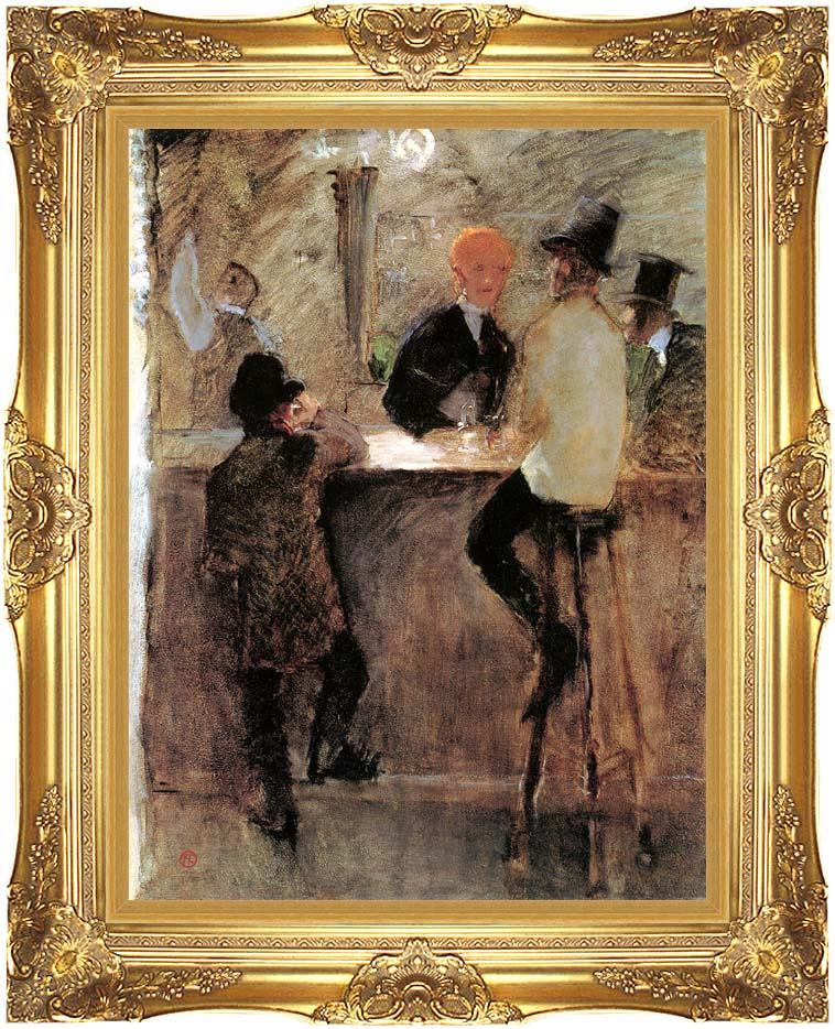 Henri de Toulouse Lautrec At the Bar with Majestic Gold Frame