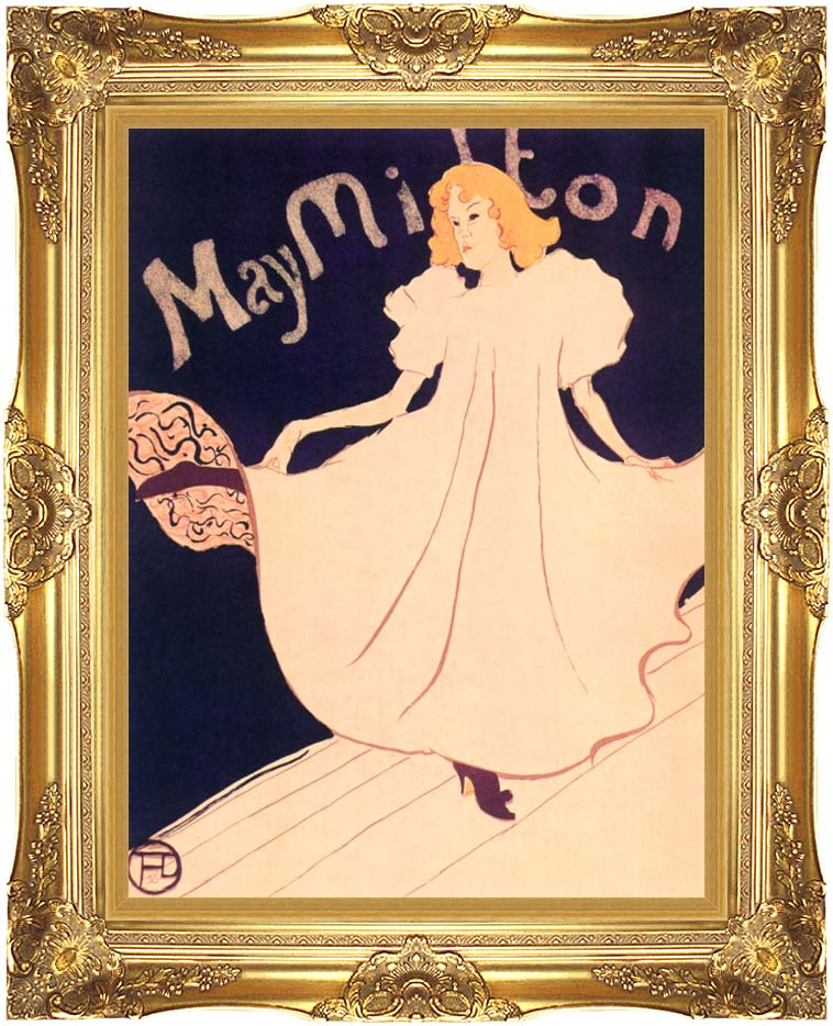 Henri de Toulouse Lautrec May Milton with Majestic Gold Frame