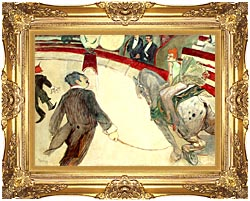 Henri De Toulouse Lautrec At The Cirque Fernando The Ringmaster canvas with Majestic Gold frame