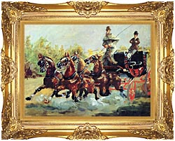 Count Alphonse de Toulouse Lautrec Driving his Mail Coach Framed Art