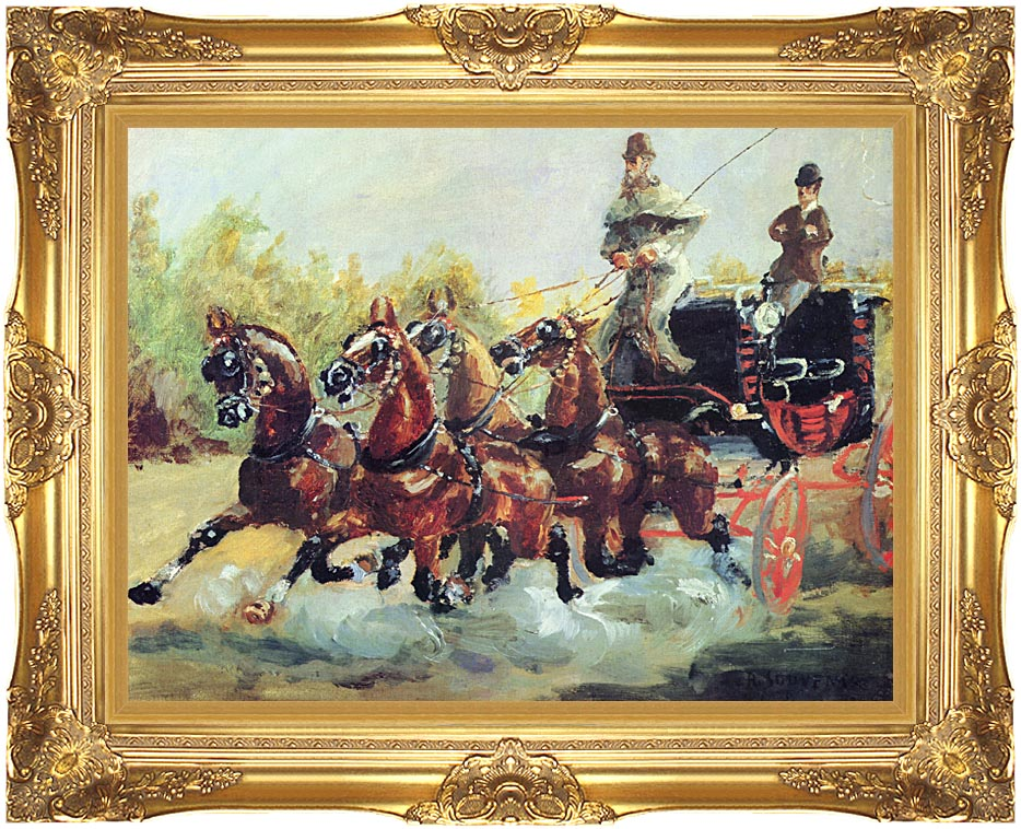 Henri de Toulouse Lautrec Count Alphonse de Toulouse Lautrec Driving his Mail Coach with Majestic Gold Frame