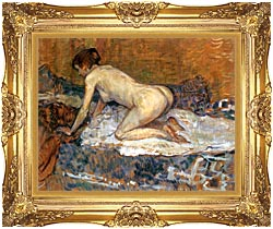 Henri De Toulouse Lautrec Crouching Woman With Red Hair canvas with Majestic Gold frame
