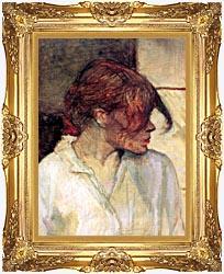 Henri De Toulouse Lautrec Rosa La Rouge Detail canvas with Majestic Gold frame