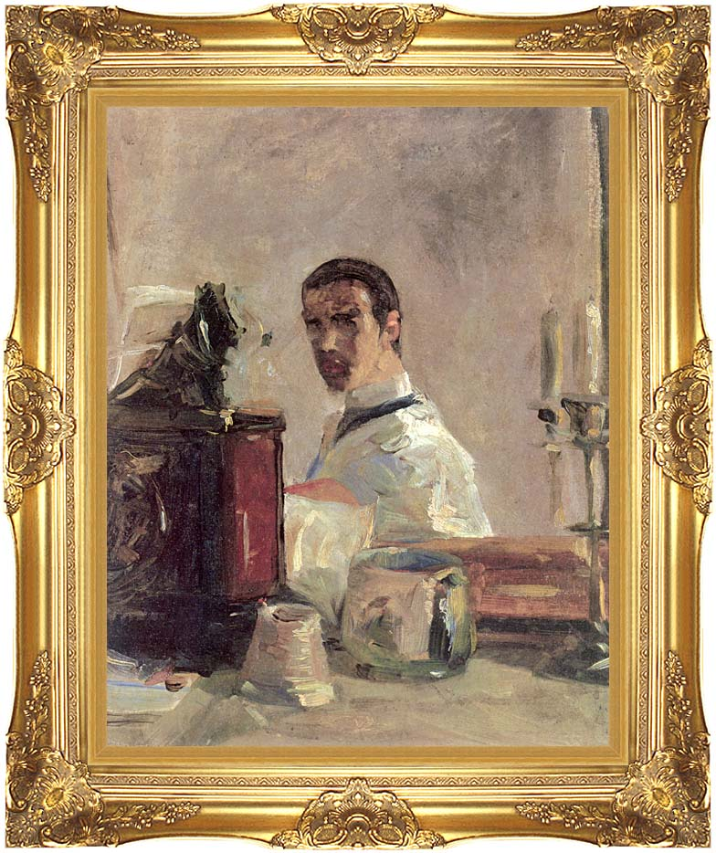 Henri de Toulouse Lautrec Henri de Toulouse Lautrec Self Portrait with Majestic Gold Frame