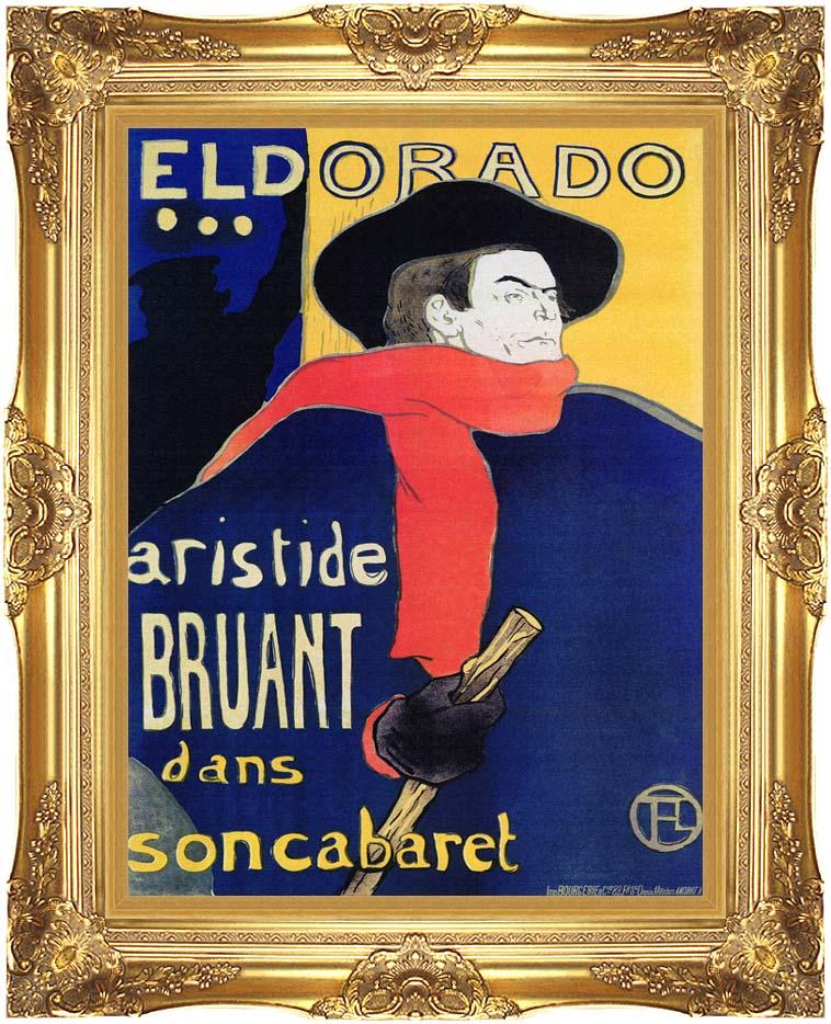 Henri de Toulouse Lautrec Eldorado Aristide Bruant with Majestic Gold Frame
