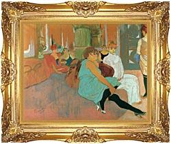 Henri De Toulouse Lautrec In The Salon Of The Rue Des Moulins canvas with Majestic Gold frame