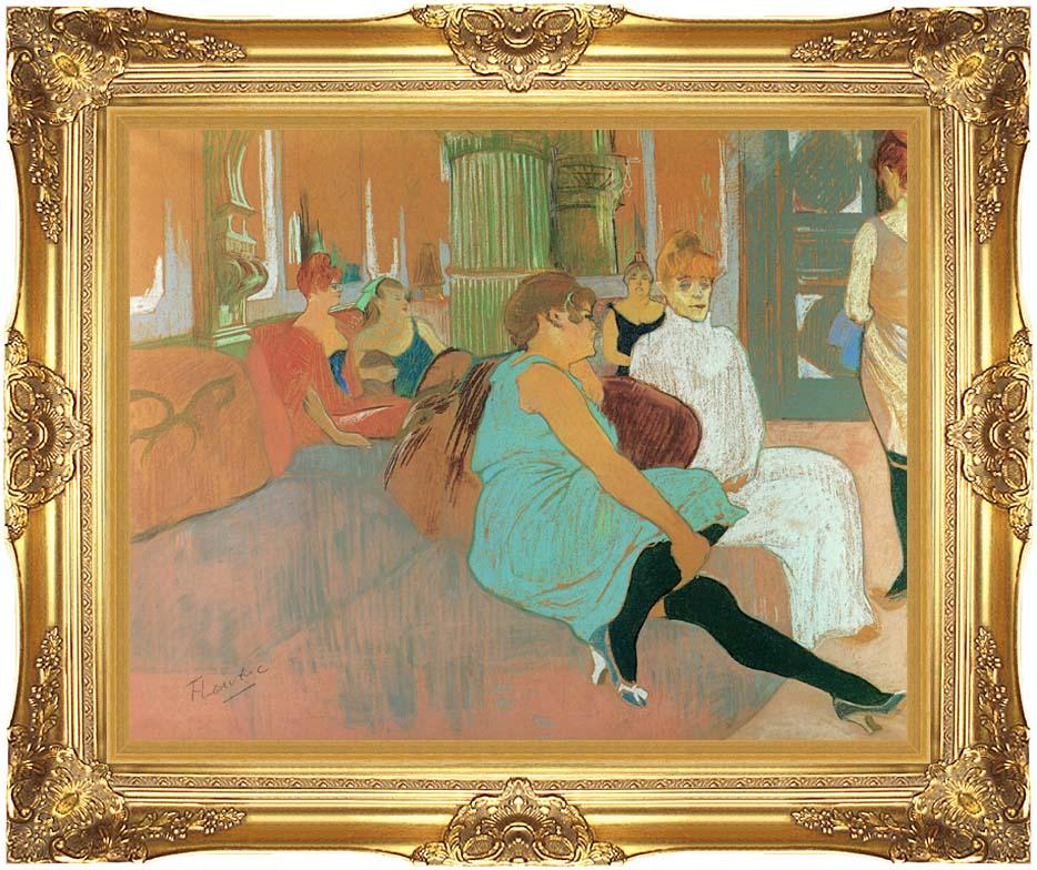 Henri de Toulouse Lautrec In the Salon of the Rue des Moulins with Majestic Gold Frame