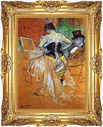 Henri De Toulouse Lautrec Study For Elles Woman In A Corset canvas with Majestic Gold frame