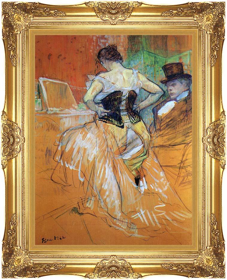Henri de Toulouse Lautrec Study for Elles Woman in a Corset with Majestic Gold Frame