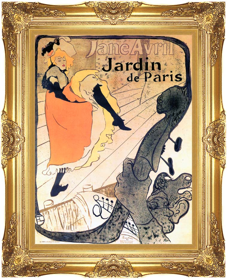 Henri de Toulouse Lautrec Jane Avril Dancing with Majestic Gold Frame