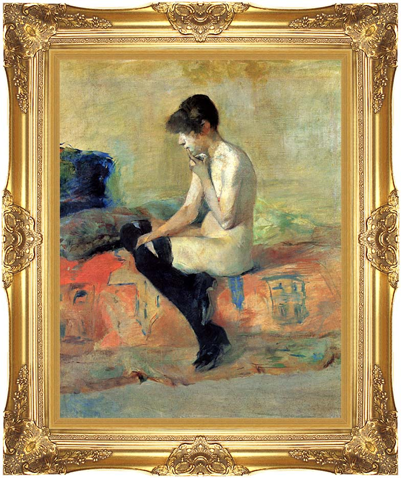Henri de Toulouse Lautrec Study of a Nude with Majestic Gold Frame
