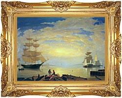 Fitz Hugh Lane Gloucester Harbor At Sunrise canvas with Majestic Gold frame