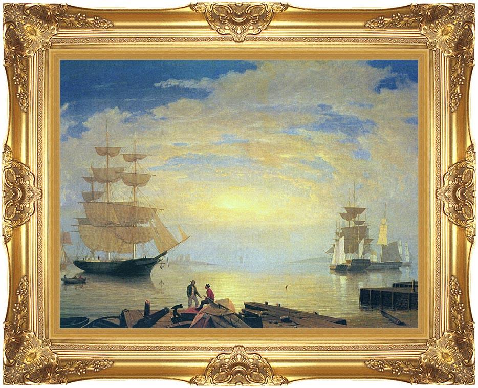 Fitz Hugh Lane Gloucester Harbor At Sunrise with Majestic Gold Frame