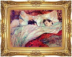 Henri De Toulouse Lautrec The Bed Le Lit canvas with Majestic Gold frame
