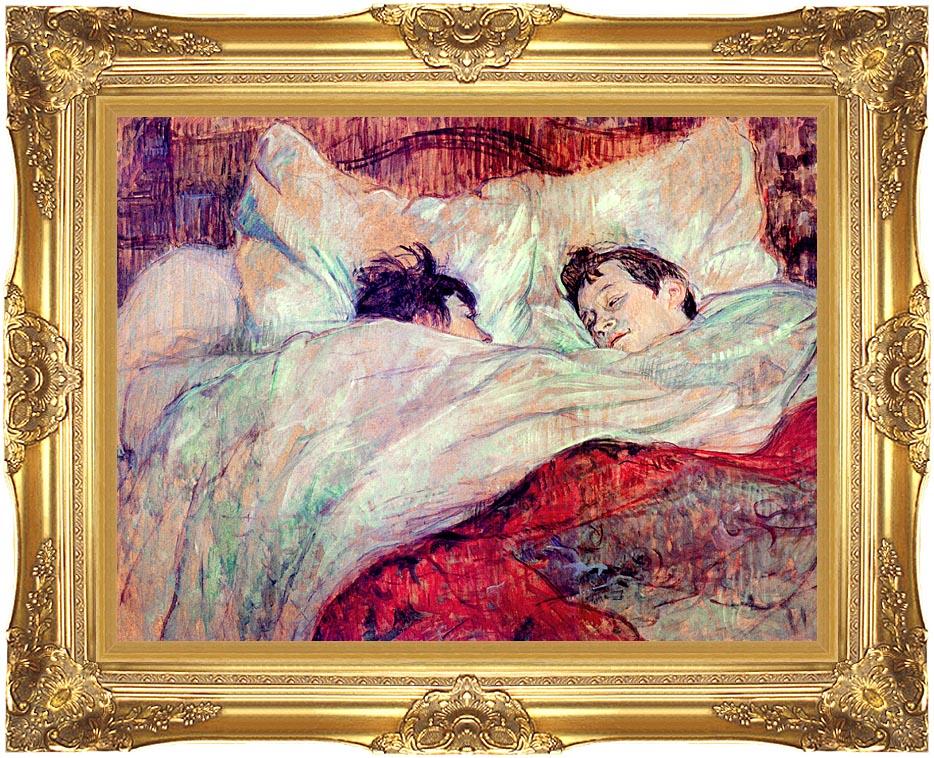 Henri de Toulouse Lautrec The Bed Le Lit with Majestic Gold Frame